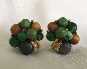 Art Green Beaded Cluster Earrings