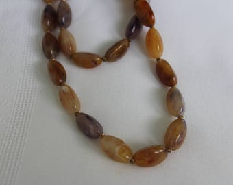 Purple and Brown Lucite Beaded Necklace