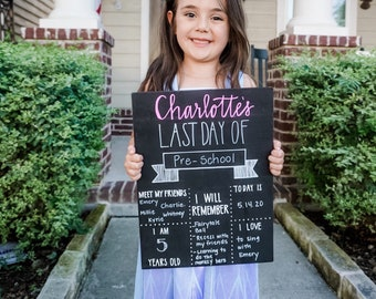 First day of school chalkboard. Last day of school chalkboard. Back to school. First day of school sign. Last day of school sign. Kinder