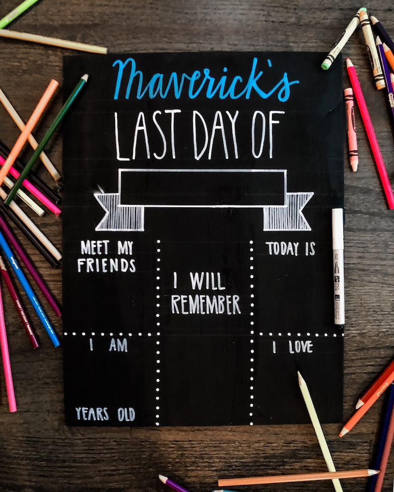 First day of school sign First day of school chalkboard Last day of school sign Kinder Last day of school chalkboard Back to school