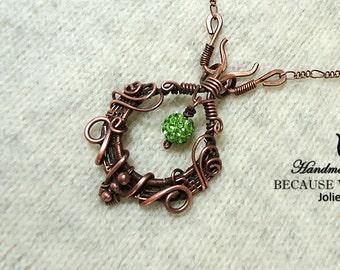 Copper wire necklace Copper wire pendant Wire wrapped jewelry Copper bead pendant Beaded necklace Wire-wrapped Pendant Green crystal bead