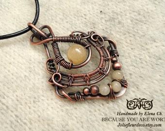 Topaz Copper pendant Gemstone Necklace Antique copper Handmade Copper Jewelry Valentine's Day Handmade Gift for Her Oxidized copper
