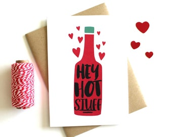 Valentine's Day Card 'Hey Hot Stuff' Hot Sauce Card - Anniversary Card, Greeting Card, Boyfriend Card, Girlfriend Card, Valentine Card