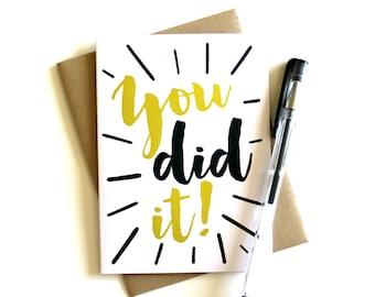 Graduation Card, Congrats 'You Did It' - Congratulations Greeting Card, Congrats Card