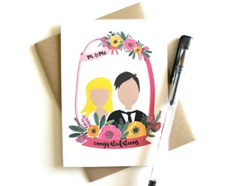 Wedding Card - Bride & Groom, Customize 'Mr. and Mrs. Congratulations', Greeting Card, Wedding Cards, Customized