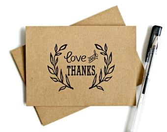 Kraft Thank You Cards (Set of 5) - Thank You Card Set, Wedding Thank You Cards, Thank You Note, Stationery, Kraft Thank You