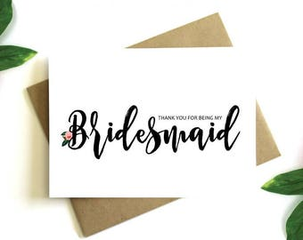 Bridesmaid Thank You Card - Thank You For Being My Bridesmaid, Thank You Bridesmaid, Bridesmaid Thank You Gift, Bridal Party Thank You Card