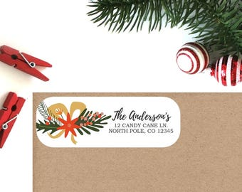 Holiday Return Address Labels (Set of 16) - Christmas Floral Labels, Christmas Address Labels, Return Address Labels, Personalized Labels