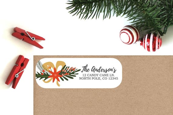 holiday return address labels set of 16 christmas floral etsy