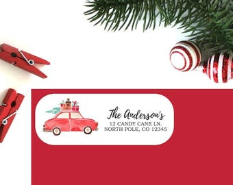 Holiday Return Address Labels (Set of 16) - Christmas Car Labels, Christmas Address Labels, Return Address Labels, Personalized Labels