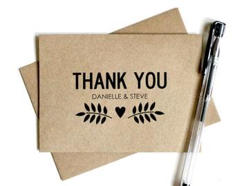 Custom Wedding Thank You Cards (Set of 25) - Personalized Thank You Cards, Thank You Card Set, Wedding Thank You Cards, Rustic, Kraft