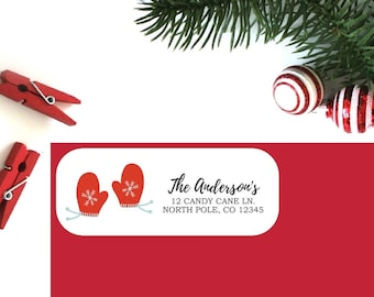 Holiday Return Address Labels (Set of 16) - Christmas Mitten Labels, Christmas Address Labels, Return Address Labels, Personalized Labels