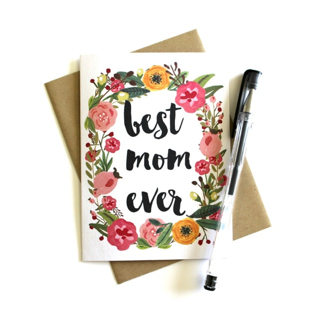 Mother's Day Card - Card for Mom, Floral Mother's Day Card, Birthday Card for Mom, Happy Mother's Day, Mother Card, Mom Greeting Card