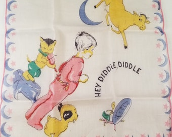 Vintage Child's Nursery Rhyme Hanky Handkerchief Hey Diddle Diddle 1940s