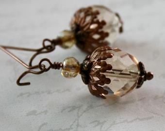 Glass Acorn earrings, Copper acorn earrings, Long dangle earrings, Autumn Jewelry, Acorn Jewelry
