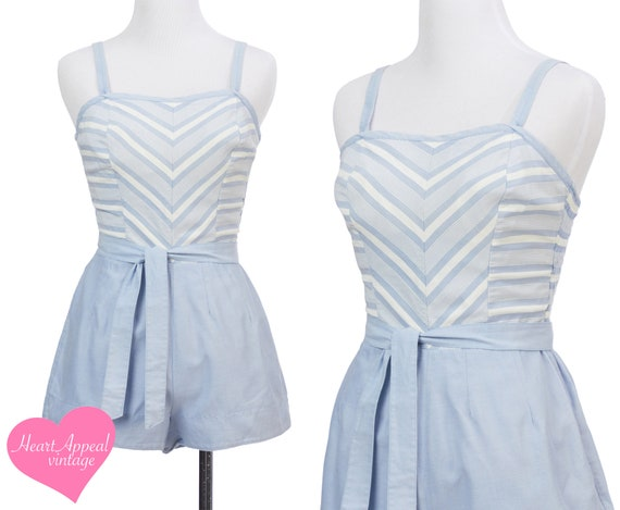 Vintage 1950s Playsuit // Blue White Chevron Strip
