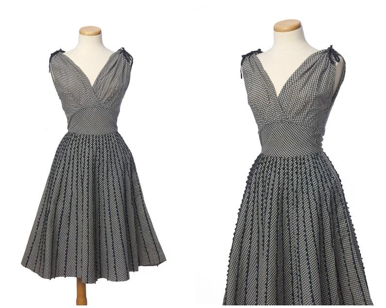 5522df974d9f44 Vintage 1950s Dress // Darling Black Cream Gingham Shelf Bust   Etsy