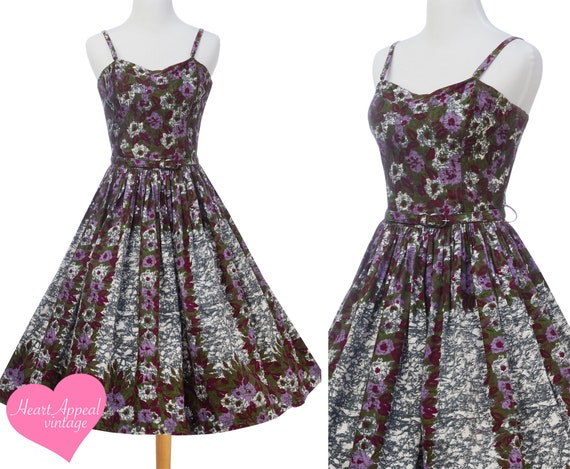 Vintage 1950s Dress // Purple Floral Novelty Borde