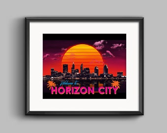 Welcome to Horizon City Art Print - synthwave, vaporwave, outrun, 80s, retro, city, skyline, neon, sunset, california, poster, wall art