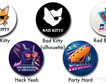 """Silly Buttons - 1"""" buttons, pins, funny, cat, banana, hot dog, cartoon"""