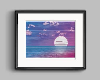 Vaporwave Was It Only A Dream Art Print - synthwave, outrun, 80s, retro, glitch, neon, sunset, california, poster, wall art