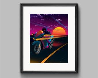 Oceanside Art Print - synthwave, vaporwave, outrun, 80s, retro, portrait, neon, sunset, california, motorcycle, wall art