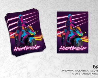 The Heartbreaker Sticker - synthwave, vaporwave, retrowave, outrun, 80s, retro, portrait, neon, motorcycle, girl, biker, sticker, decal
