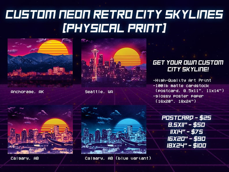 Commissioned Custom Neon Retro City Skyline PRINT  80s image 0