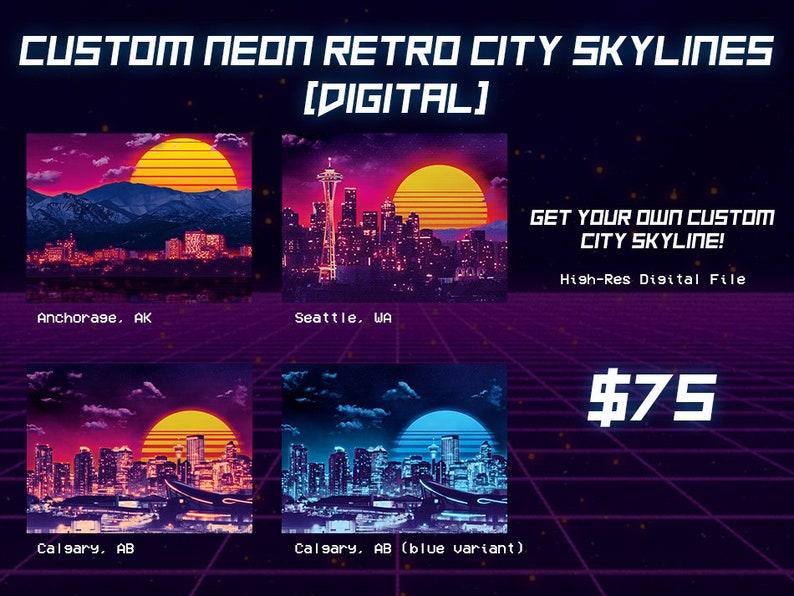 Commissioned Custom Neon Retro City Skyline DIGITAL  80s image 0