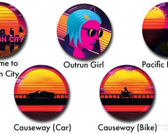 "Horizon City Buttons - 1"" buttons, pins, synthwave, retro, 80s, neon, retrowave, vaporwave, sunset"