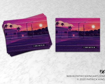 Vaporwave I hope you're ok Sticker - synthwave, outrun, 80s, retro, glitch, neon, sunset, pixel, sticker, decal