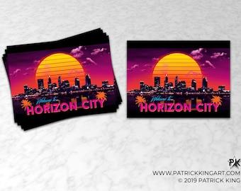 Welcome to Horizon City Sticker - synthwave, vaporwave, outrun, 80s, retro, city, skyline, neon, sunset, california, sticker, decal