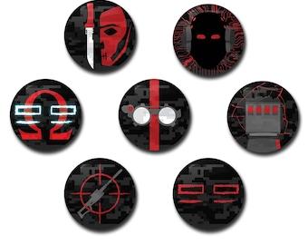 """The Bad Batch Buttons - 1"""" buttons, pins, star wars, bad batch, clone wars, hunter, echo, omega, tech, crosshair, wrecker"""
