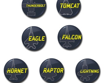 """Fighter Jets Buttons - 1"""" buttons, pins, fighter planes, military, top gun, ace combat"""
