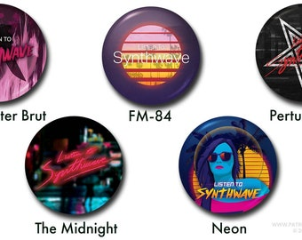 """Listen to Synthwave Buttons - 1"""" buttons, pins, synthwave, retro, 80s, the midnight, perturbator, carpenter brut, fm-84"""