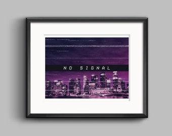 Vaporwave No Signal Art Print - synthwave, outrun, 80s, retro, glitch, neon, skyline, city, poster, wall art