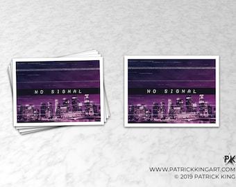 Vaporwave No Signal Sticker - synthwave, outrun, 80s, retro, glitch, neon, skyline, city, sticker, decal