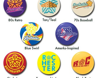 """Rochester, New York Buttons - 1"""" buttons, pins, roc, ny, upstate, flower city, retro, 70s, 80s, baseball, typography"""