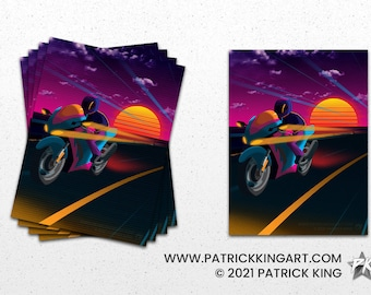 Oceanside Sticker - synthwave, vaporwave, outrun, 80s, retro, neon, sunset, california, motorcycle, sticker, decal