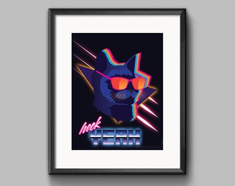 Heck Yeah Retro Cat Art Print - synthwave, vaporwave, outrun, 80s, retro. cat. neon, silly, funny, poster, wall art