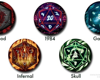 """D20 Buttons - 1"""" buttons, dice, dungeons & dragons, dnd, pins, horror, retro, sci-fi, rpg, gaming"""