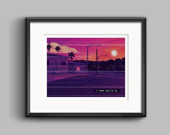 Vaporwave I hope you're ok Art Print - synthwave, outrun, 80s, retro, glitch, neon, pixel, sunset, poster, wall art