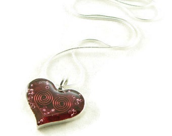 Orgone Energy Small Heart Pendant in Sterling Silver with Red Garnet - Valentine Heart - Orgone Energy Jewelry - Artisan Jewelry
