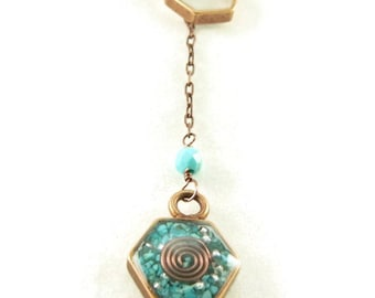 Orgone Energy Honeycomb Lariat Necklace in Antique Copper Finish with Turquoise Stones - Hexagon - Orgone Energy Necklace - Dainty Necklace