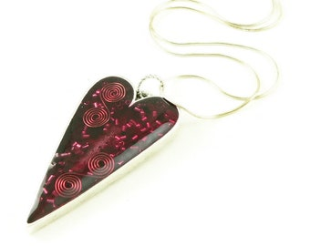 Orgone Energy Pendant - Large Antiqued Silver Heart - Red with Garnet Gemstone - Artisan Jewelry