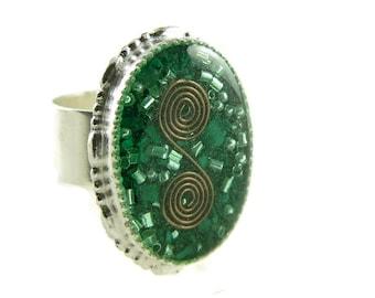Orgone Energy Ring with Malachite - Statement Ring - Cocktail Ring - Adjustable Ring - Orgone Energy Jewelry - Artisan Jewelry