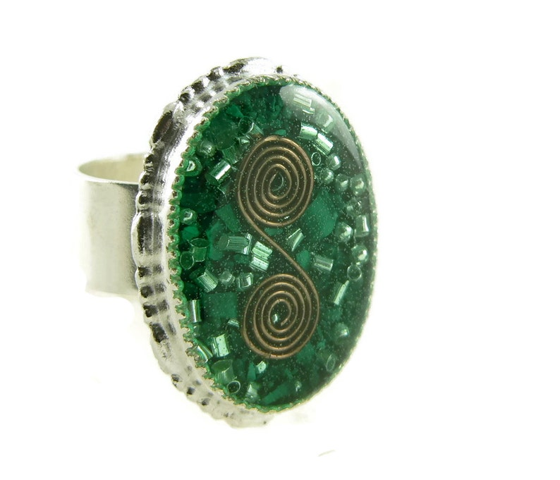 Orgone Energy Ring with Malachite  Statement Ring  Cocktail image 0