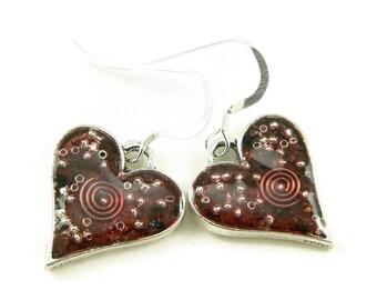 Orgone Energy Earrings - Simple Heart Dangles - Garnet Gemstone - Positive Energy Generator - Artisan Jewelry
