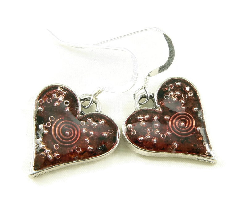 Orgone Energy Earrings  Simple Heart Dangles  Garnet image 0