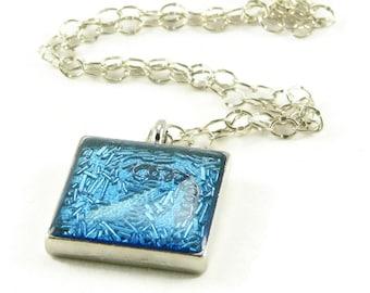 Orgone Energy Pendant - Ice Blue in Silver Square - Unisex Jewelry - Artisan Jewelry
